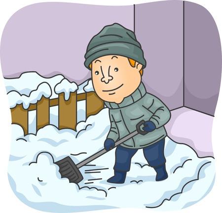 Illustratie van een Man die Sneeuw schept Stock Illustratie