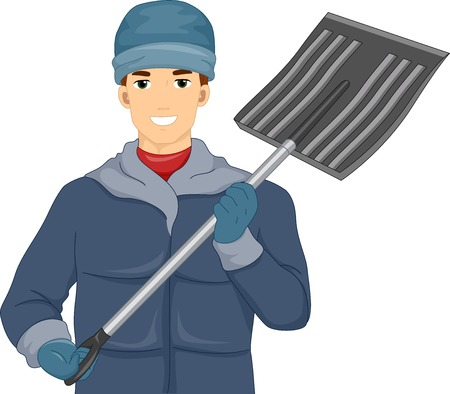 removing: Illustration of a Man Holding a Shovel for Removing Snow Illustration