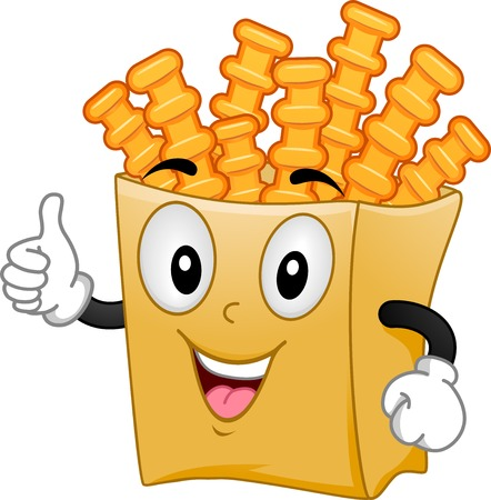 crinkle: Mascot Illustration Featuring a Pack of Crinkle Cut Fries Giving a Thumbs Up Illustration