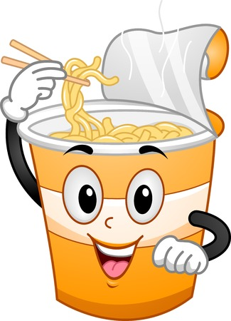 ramen: Mascot Illustration Featuring a Cup Scooping Noodles Out of His Head Illustration