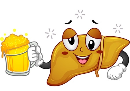vital: Mascot Illustration Featuring a Drunk Liver