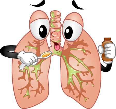 cough: Mascot Ilustración que ofrece un par de pulmones Tomando Jarabe para la tos
