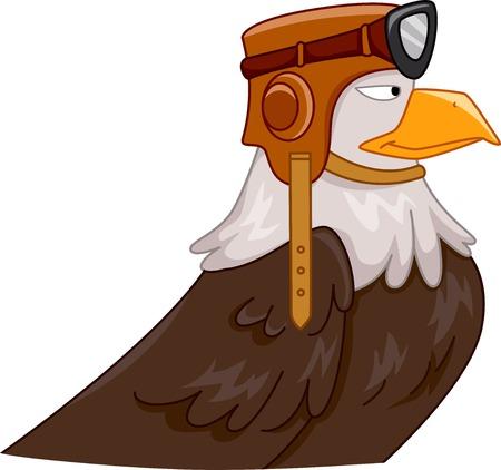 Mascot Illustration Featuring an Eagle Wearing a Pilots Helmet Vector