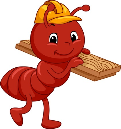 construction worker cartoon: Mascot Illustration Featuring an Ant Carrying a Slab of Wood Illustration