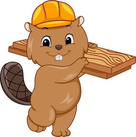 cartoon carpenter: Illustration Featuring a Beaver Wearing a Hard Hat and Carrying a Slab of Wood Illustration