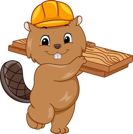 carpintero: Ilustración que ofrece un castor que lleva un casco y llevando una tabla de madera