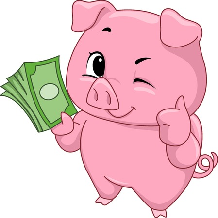 frugality: Illustration of a Cute Little Pig Holding a Stack of Cash