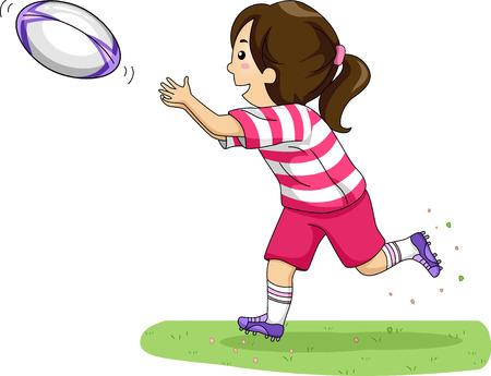 ballon de rugby: Illustration d'une fille attraper une balle de rugby