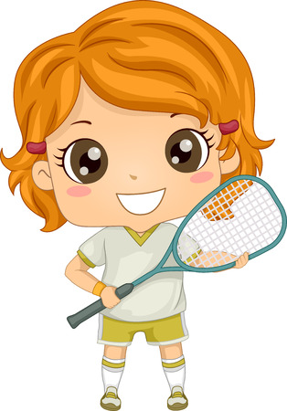 Illustration of a Girl Dressed in Squash Gear Vetores