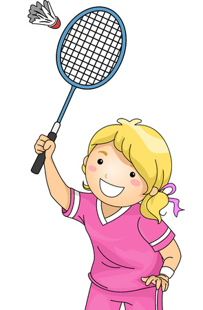 Illustration of a Girl Playing Badminton Vector