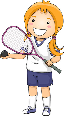 Illustration of a Girl Dressed in Squash Gear