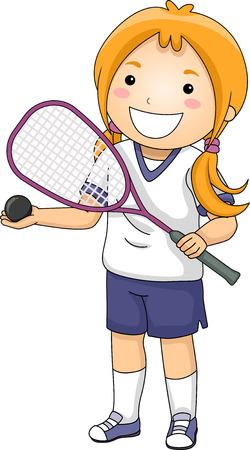squash: Illustration of a Girl Dressed in Squash Gear