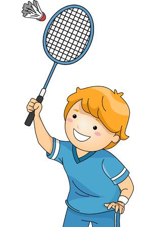 Illustration of a Boy Playing Badminton Illustration