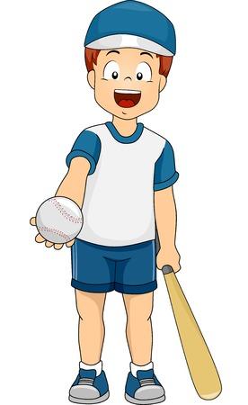 야구 기어에 옷을 입고 소년의 그림 일러스트