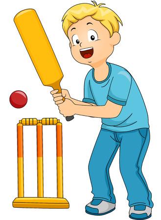Illustratie van een jongen spelen Cricket