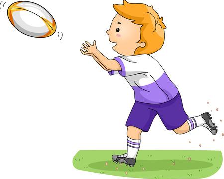 pelota rugby: Ilustraci�n de un ni�o que coge una bola de rugby