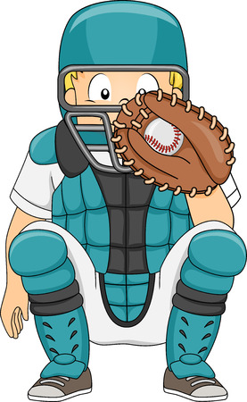 baseball catcher: Illustration of a Boy Dressed in Baseball Gear Assuming a Catchers Position