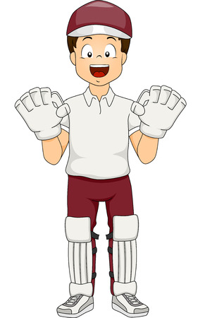 wicket: Illustration of a Boy Dressed as a Wicket Keeper Illustration