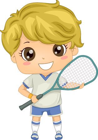 스쿼시 기어를 입은 소년의 그림