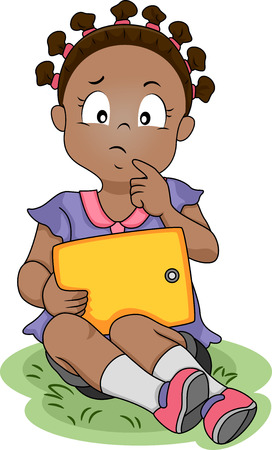 Illustration of a Girl Thinking While Holding a Computer Tablet