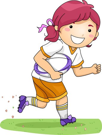 Illustration of a Girl Dressed in Rugby Gear Running Across a Field Vector