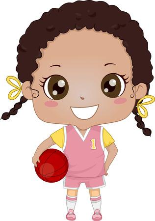 baloncesto chica: Ilustración de una muchacha afroamericana que lleva Uniforme de baloncesto Vectores