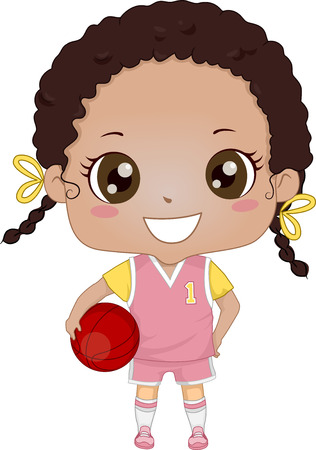 Illustration of an African-American Girl Wearing Basketball Uniform Illustration