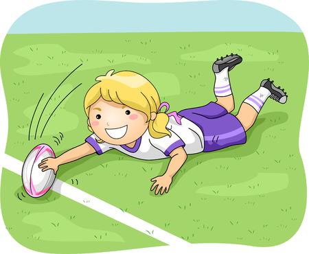Ilustración de una Mujer Jugador de rugby Hacer un gol