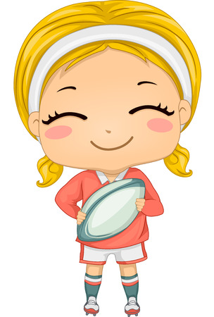 Illustration of a Girl Dressed in Rugby Gear  イラスト・ベクター素材