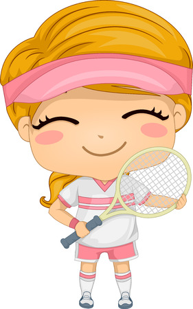 Illustration of a Girl Dressed in Tennis Gear Vector