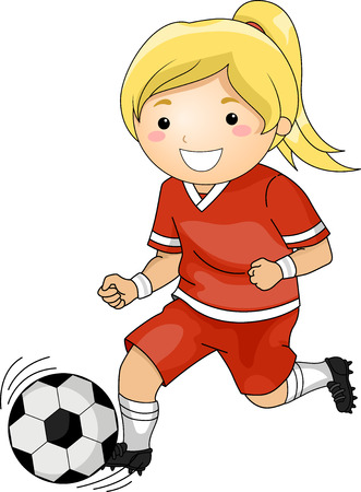 team sports: Illustration of a Girl Playing Soccer