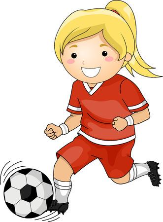 female soccer: Illustration of a Girl Playing Soccer
