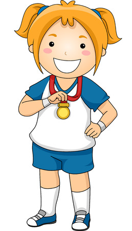 Illustration of a Little Girl Showing Her Sports Medal Vector