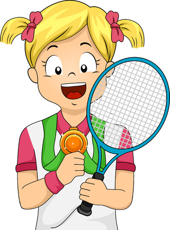 achievement clip art: Illustration of a Young Female Tennis Player Showing Her Medal