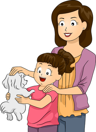 Illustration of a Mother and Daughter Petting a Cute Dog