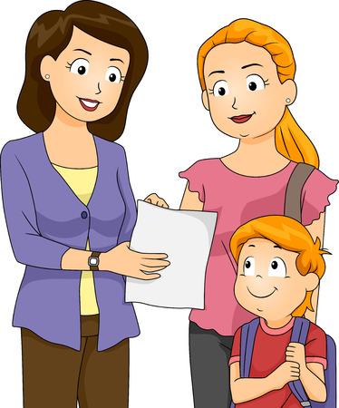 genitore figlio: Illustrazione di un insegnante che mostra i progressi del suo allievo alla sua mamma