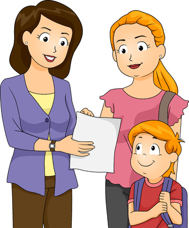 Illustration of a Teacher Showing Her Students Progress To His Mom Illustration