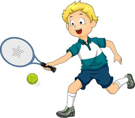 kind spielen: Illustration eines Jungen spielen Lawn Tennis