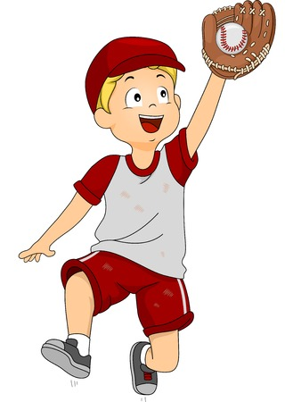 Illustration of a Boy Dressed in Baseball Gear Catching a Ball Vector