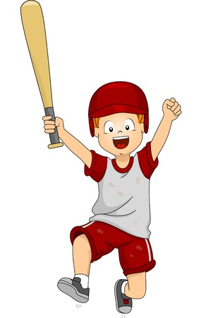 Illustration of a Boy Dressed in Baseball Gear Doing a Victory Jump Vector