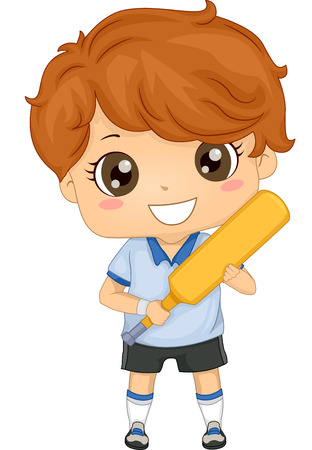 Illustration of a Boy Dressed in Cricket Gear Vector