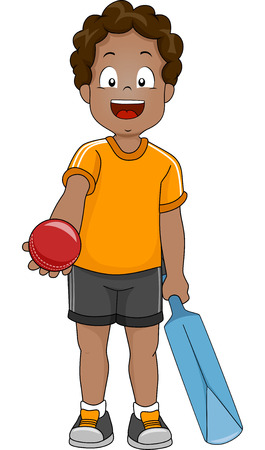 Illustration of a Boy Handing Out a Cricket Ball Stock Illustratie