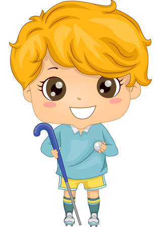 field hockey: Illustration of a Boy Dressed in Field Hockey Gear Illustration