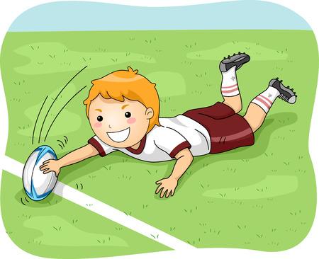 pelota de rugby: Ilustración de un Hombre Jugador de Rugby Hacer un gol Vectores