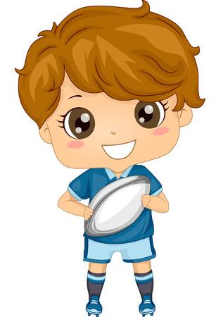 Ilustración de un niño vestido de Rugby de engranajes