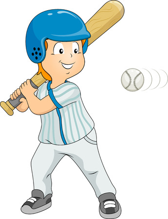 Illustration of a Boy Dressed in Baseball Gear About to Hit the Ball Vector