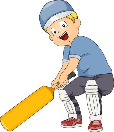 Illustratie van een jongen die een Cricket Bat Stock Illustratie