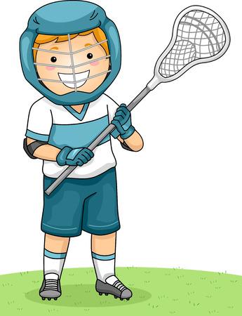 lacrosse: Illustration of a Boy Dressed in Lacrosse Gear