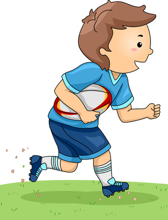 play boy: Illustration of a Boy Dressed in Rugby Gear Running Across a Field Illustration