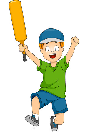 Illustration of a Boy Holding a Cricket Bat Doing a Victory Jump Vector